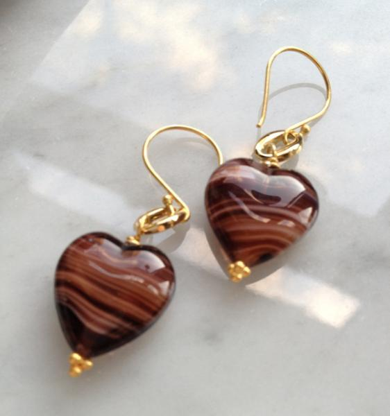 Chocolate Hearts Czech Glass Earrings, 24k Gold Vermeil
