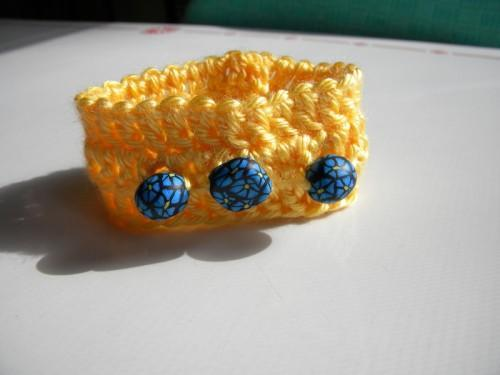 Sunshine and Blue Flowers Bracelet Cuff - polymer clay beads on yellow