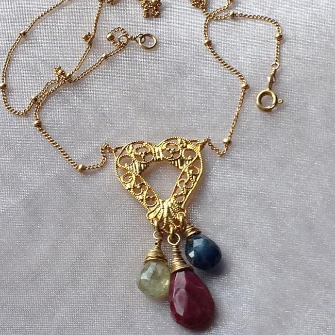Ruby, Blue, and Gold Sapphire Heart Pendant