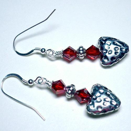 Swarovski Lt. Siam Copper Crystal and Hammered Heart Earrings
