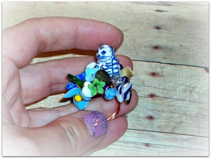 Cat Among the Pansies - Ring - Beloved Collection - Little Friends Series - OOAK