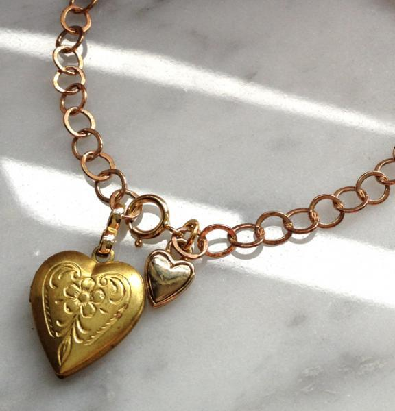Vintage Heart Locket and Charm Bracelet