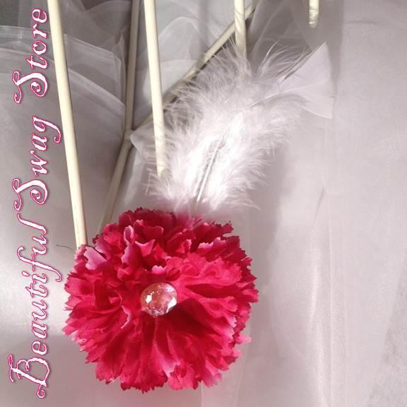 Fuschia Flower Feather Hat Pin