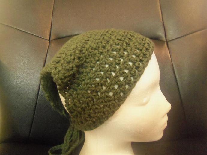 forest  green crochet bandana kerchief