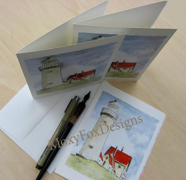 Cards -- THREE LIGHTHOUSE CARDS, Fine Art, Blank cards, Architecture, Red roofs,