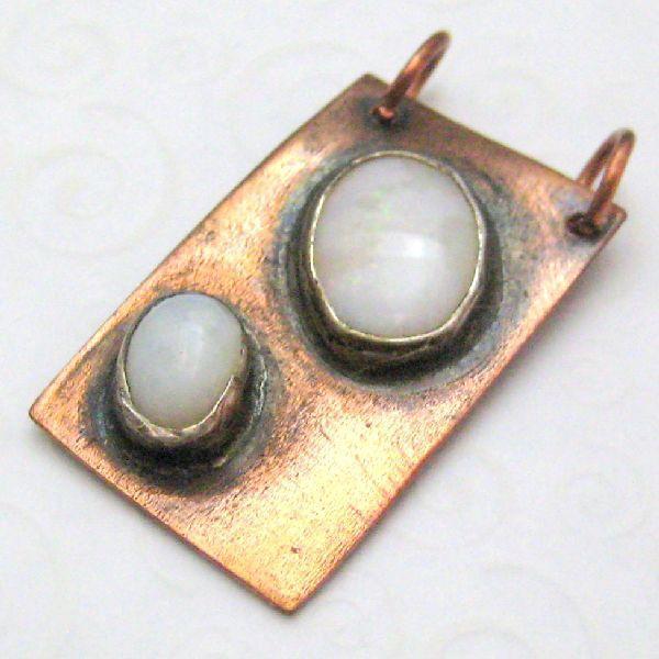 Double Opal Copper Pendant
