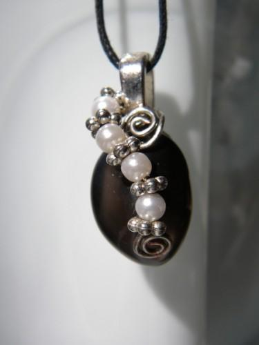 Pearl Apache Tear Pendant -Black Obsidian Ascending Pearls and Silver