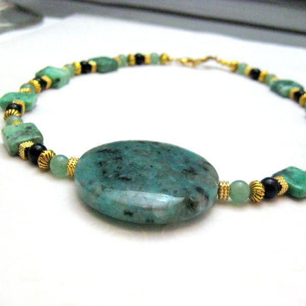 Gold Green Black Handmade Necklace Choker Jasper Onyx Turquoise