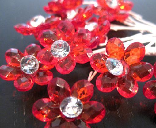 24 - Mini Red Acrylic Flower w/ Stem