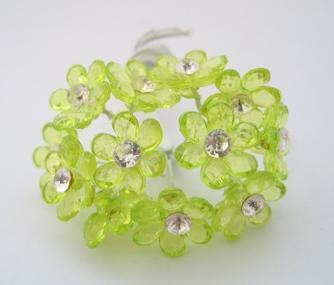 24 - Mini Apple Green Acrylic Flower w/ Stem