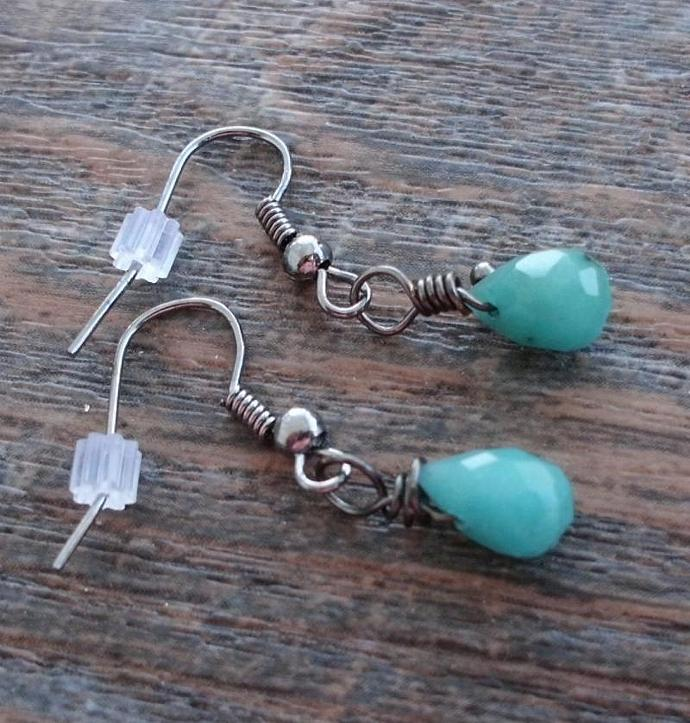 Blue Green Candy Jade Tiny Briolette Earrings