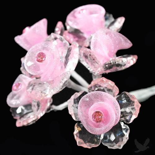 6 - Pink Acrylic & Organza Flower