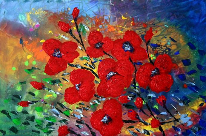 RED FLOWERS in RAIN PRINT from Original Painting
