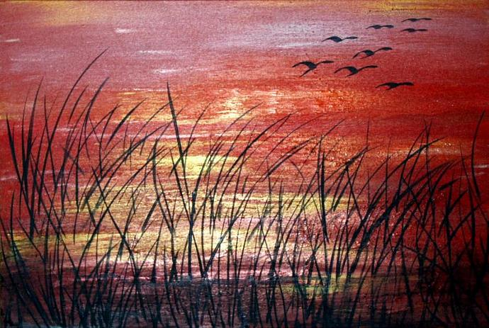 SUNSET OVER the LAKE GLOSSY PRINT