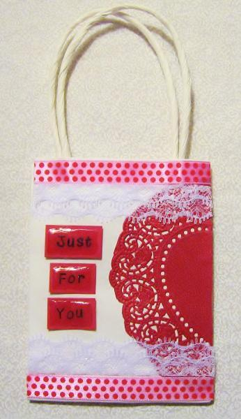 """Valentines Day Small Gift Bag """"Just For You"""""""