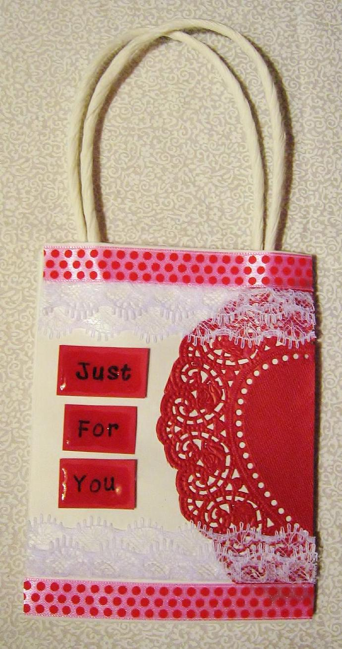 "Valentines Day Small Gift Bag ""Just For You"""