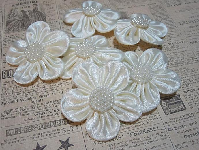3 - Ivory Satin Flower w/ Pearl Center (SF-1)
