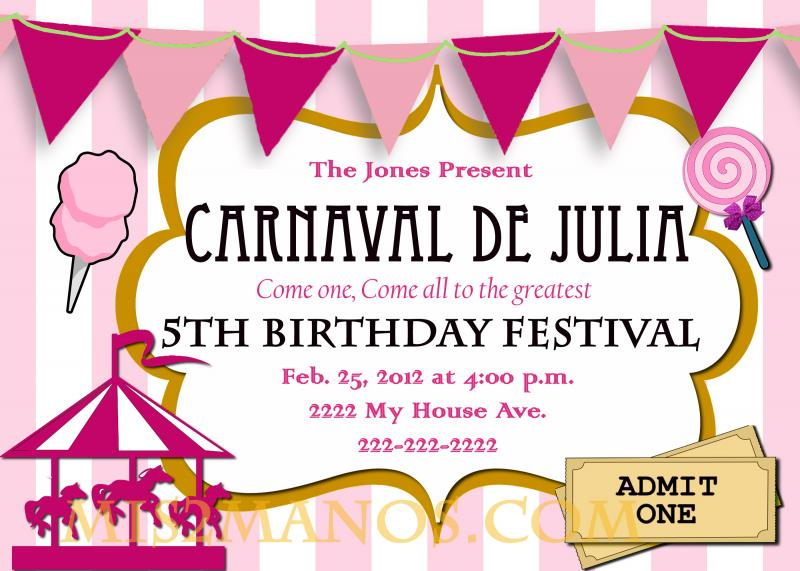 carnival birthday party invitation diy printable by mis2manos on, Birthday invitations
