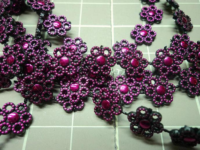 Metallic Hot Pink Flower Trim
