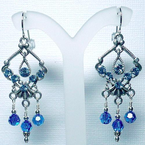 Swarovski Capri Blue Crystal Chandelier Earrings