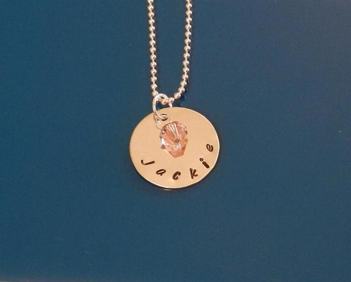"""CUSTOM- 3/4"""" Sterling Silver Hand Stamped Circle Pendant"""