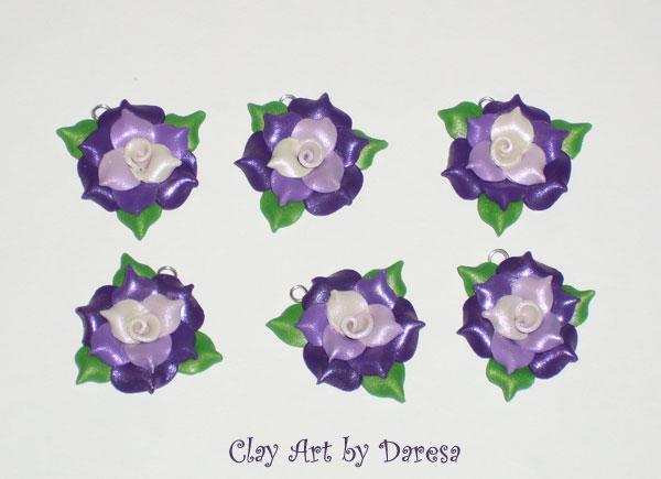 Purple fade Rose charms