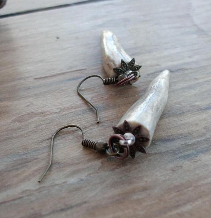Shed Deer Antler Tip Earrings No Cruelty Humane