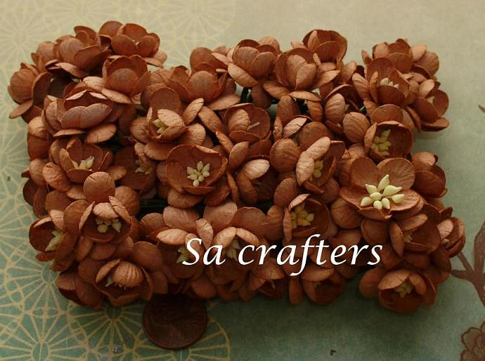 1inch Cherry Blossom paper flowers Brown color-50 Flowers