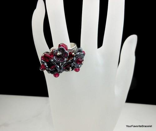 Sterling Silver Black Flower Bouquet Ring With Red Crystal