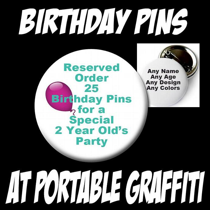 RESERVED Birthday Party Buttons for Gina