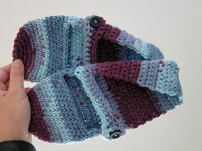 Blue and Purple Cotton Mary-Jane Slippers women's size 7-8