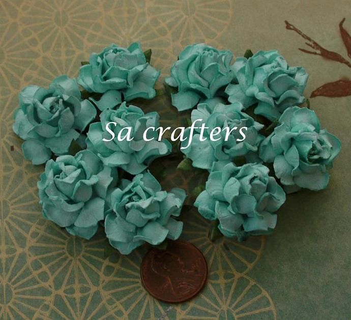 1inch paper flowers  blue color-50 Flowers