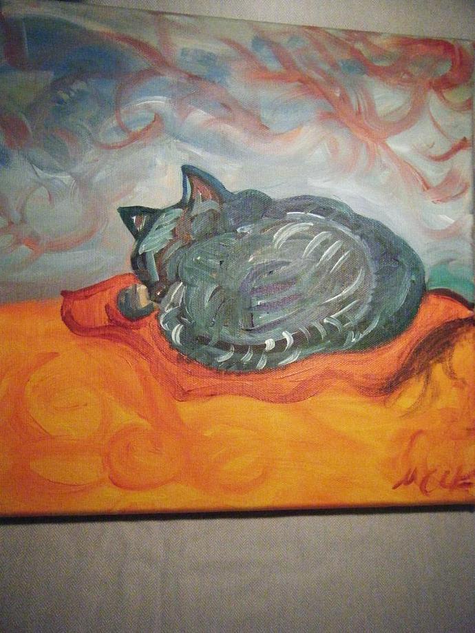 Sleeping Cat - Original Painting