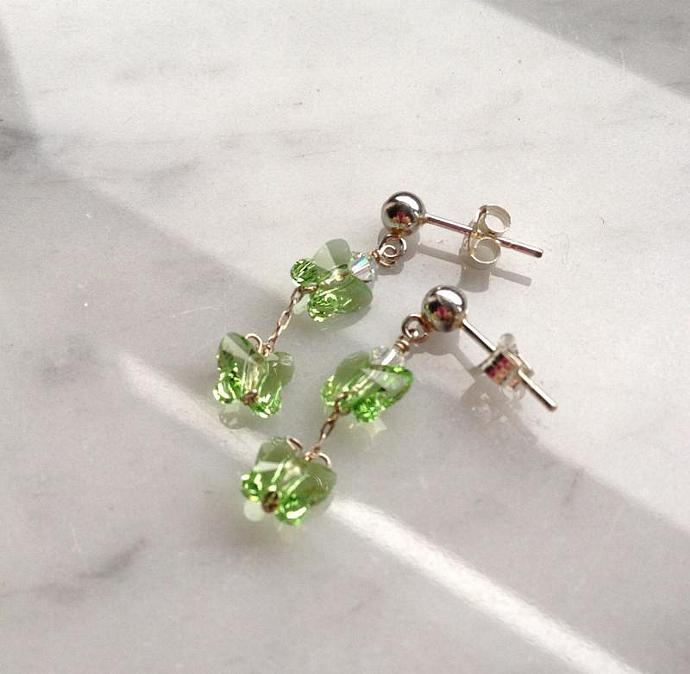 Blue Butterfly Children's Earrings, Sterling Silver Posts, Swarovski Crystal,