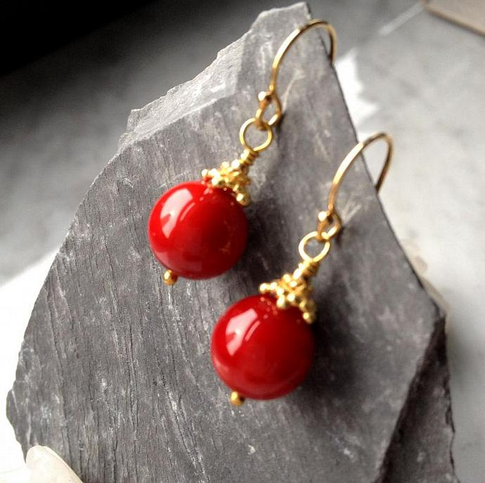 My Red Earrings (shorter style) Mother of Pearl 24k Gold Vermeil