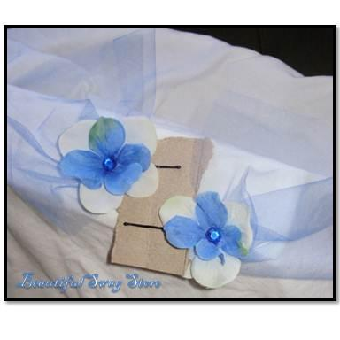 Blue Flower Bobby Pin Set