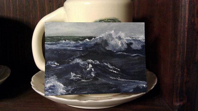 Ocean waves Aceo art card