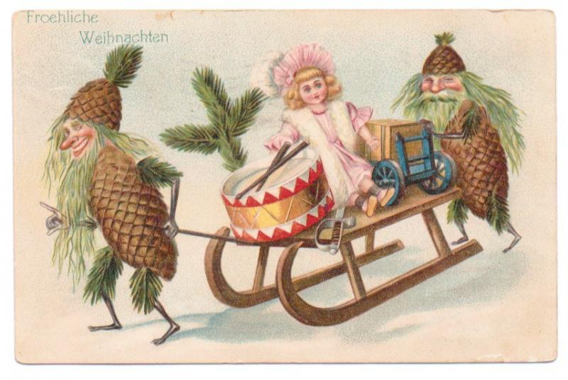 Vintage Fantasy Postcard Christmas by SandyCreekCollectables on Zibbet