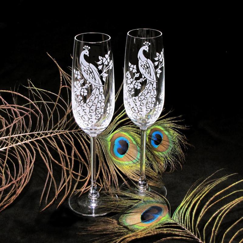 peacock champagne glasses fine crystal bradgoodell