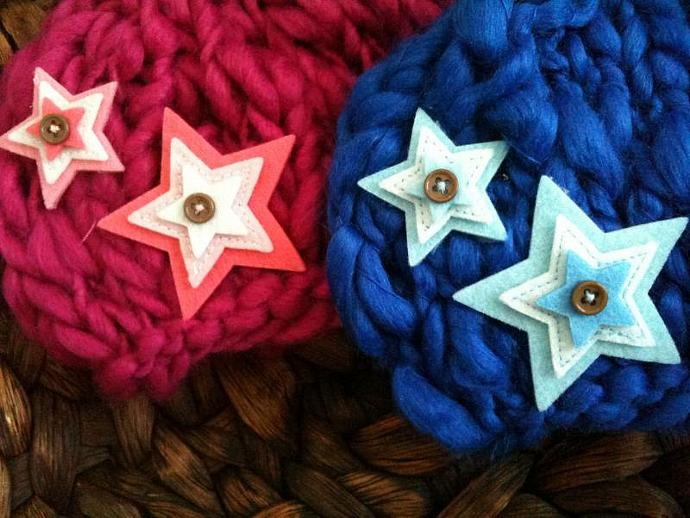 Twinkling Stars Twosome Wool/Silk Beanies