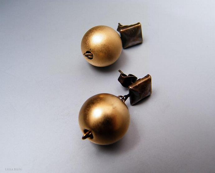 Golden Earrings Dangle Crystal Pearl Gold Plated Studs