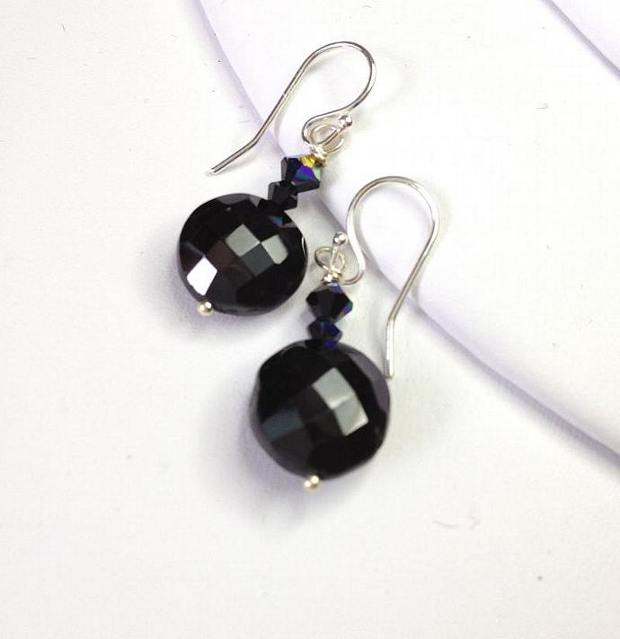 Black Spinel Sterling Silver Earrings. Faceted black spinel coins with Swarovski