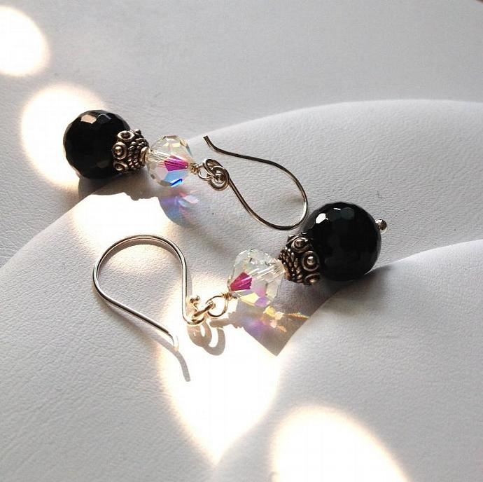 Black Onyx & Swarovski Crystal Earrings. Sterling silver Bali beads and bead tip