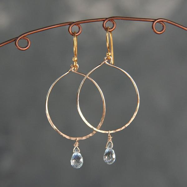 Gold Hoop and Green Amethyst Drop Earrings