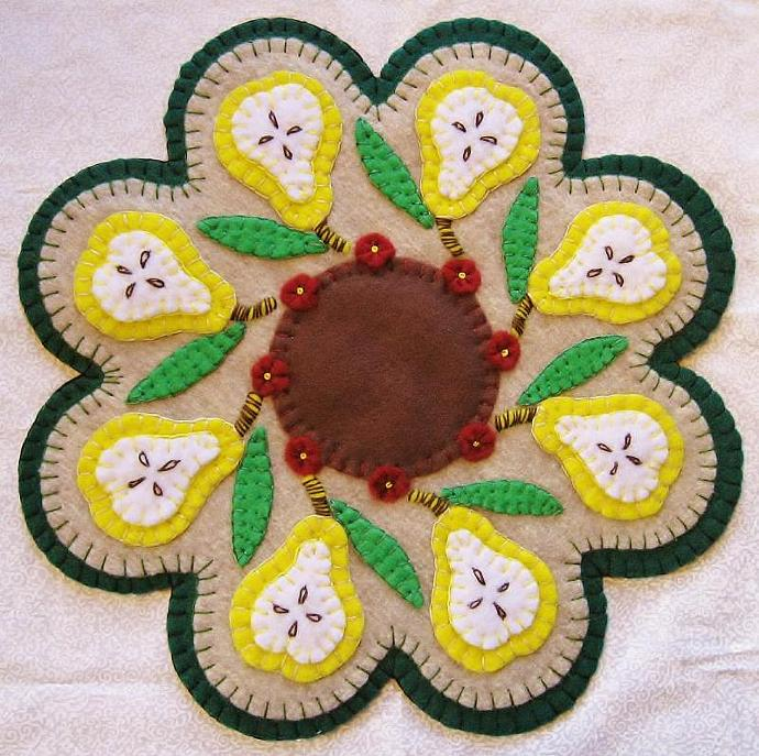 """What A Pear"" Pear Candle Mat Penny Rug With Flowers PATTERN"