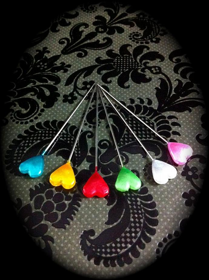 6 Colored Heart Stick Pins