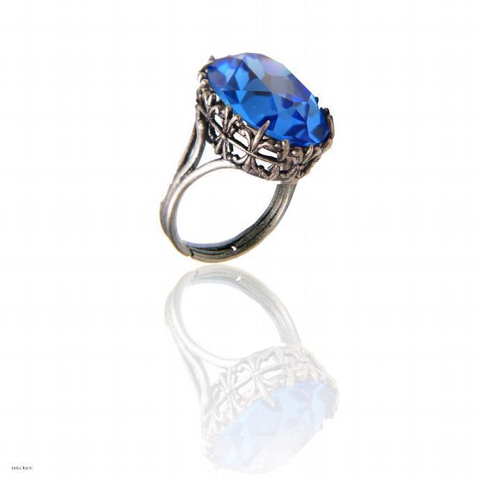 Saphire Blue Ring Swarovski Crystal Silver Plated Royal Blue