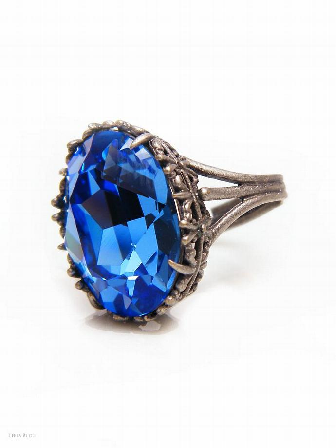 Saphire Blue Ring Swarovski Crystal Silver Plated Royal Blue