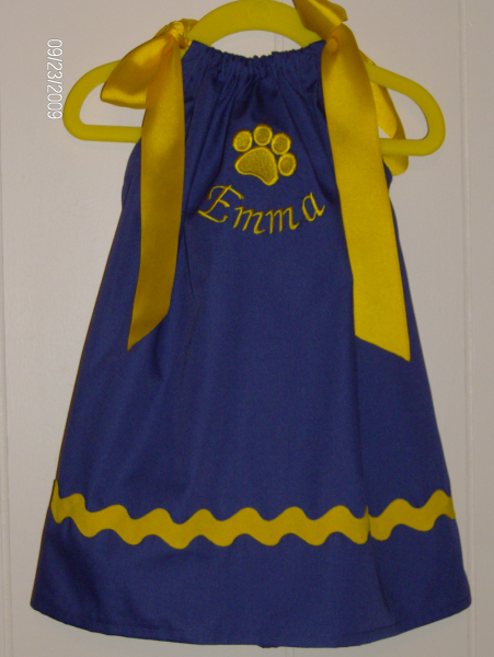 Purple and Gold Tiger Paw Print Pilloiwcase Dress