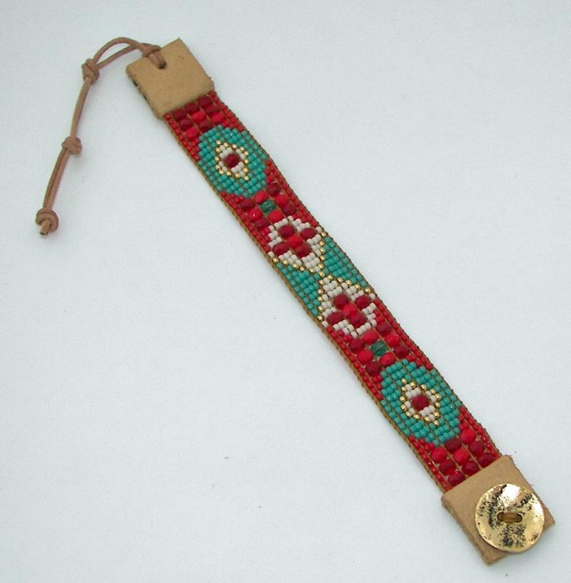 turquoise bead loom bracelet by adoradesigns on zibbet